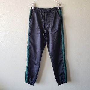 Mustard Seed Black Satin Joggers w/ Green Stripes